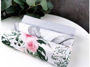 Mušelínové plenky 3ks + žíňka zdarma ,šedá, květy, pírka