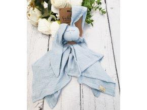 Hug Me Bunny Mušelínový mazlík, plenka s oušky 65 x 60 cm, modrá