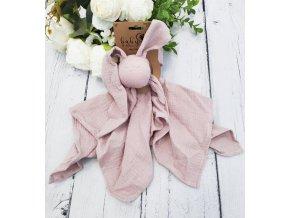 Hug Me Bunny Mušelínový mazlík, plenka s oušky 65 x 60 cm, OldPink