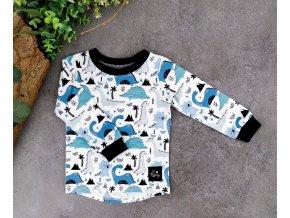 Tričko ,,Dino,, navy Blue dlouhý rukáv vel.98-104,110