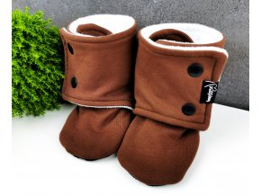 Capáčky s microfleece ,,Brown,, white VEL.0-3,3-6M sklad
