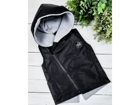 Šusťáková vesta s microfleece BLACK grey