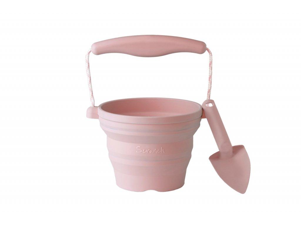 Dětský silikonový skládací kbelíček na písek s lopatkou - světlé růžová barva