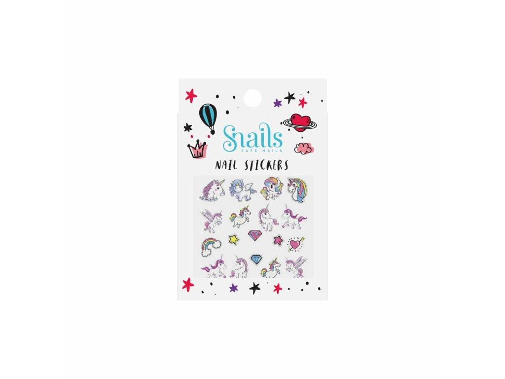 naklejki na paznokcie dla dzieci snails unicorn