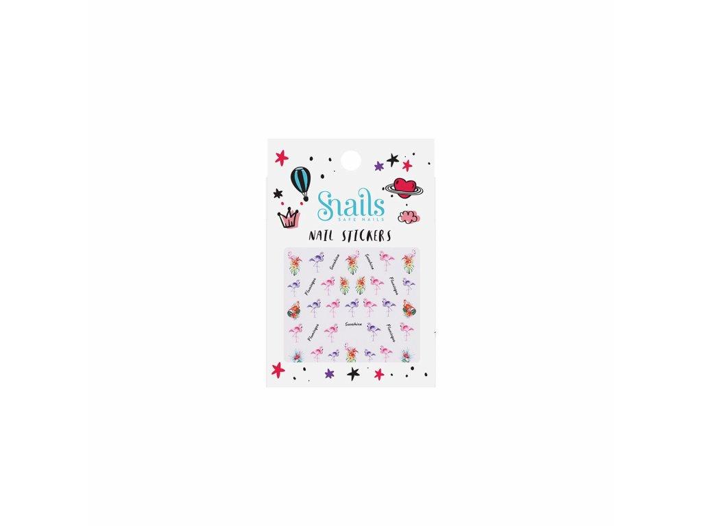 naklejki na paznokcie dla dzieci snails flamingos