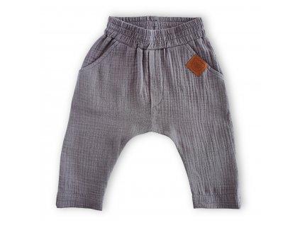 Šedé baggy kalhoty z organické bavlny