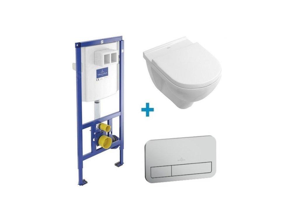 Villeroy & Boch O.Novo - závesné WC DirectFlush + spomaľovacie sedadlo + nádržka + tlačidlo matný chróm