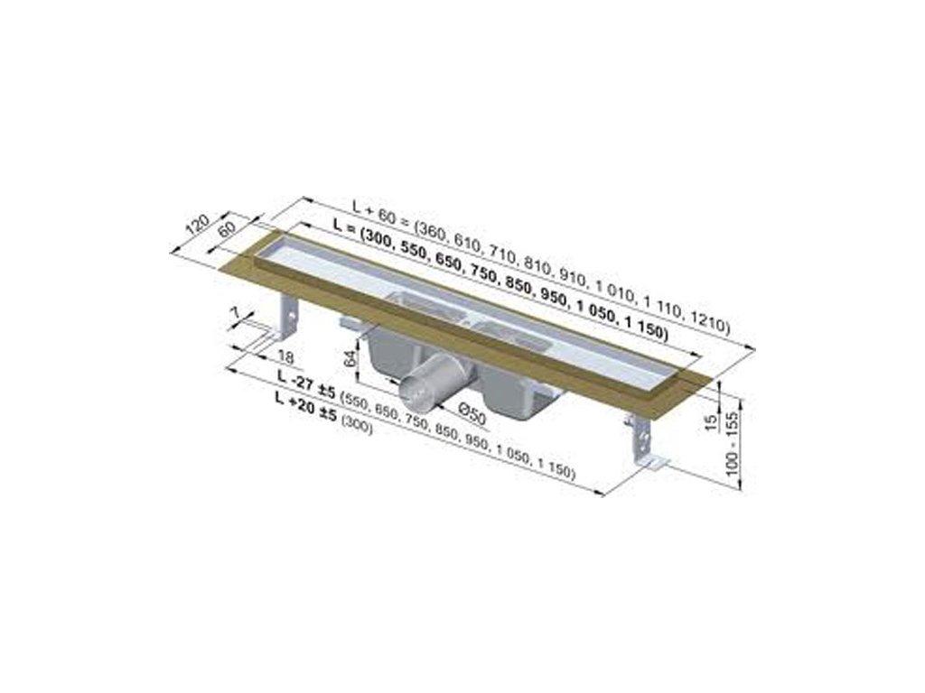 Alcaplast sprchový podlahový žľab 80 cm s prírubou bez mriežky APZ1-750