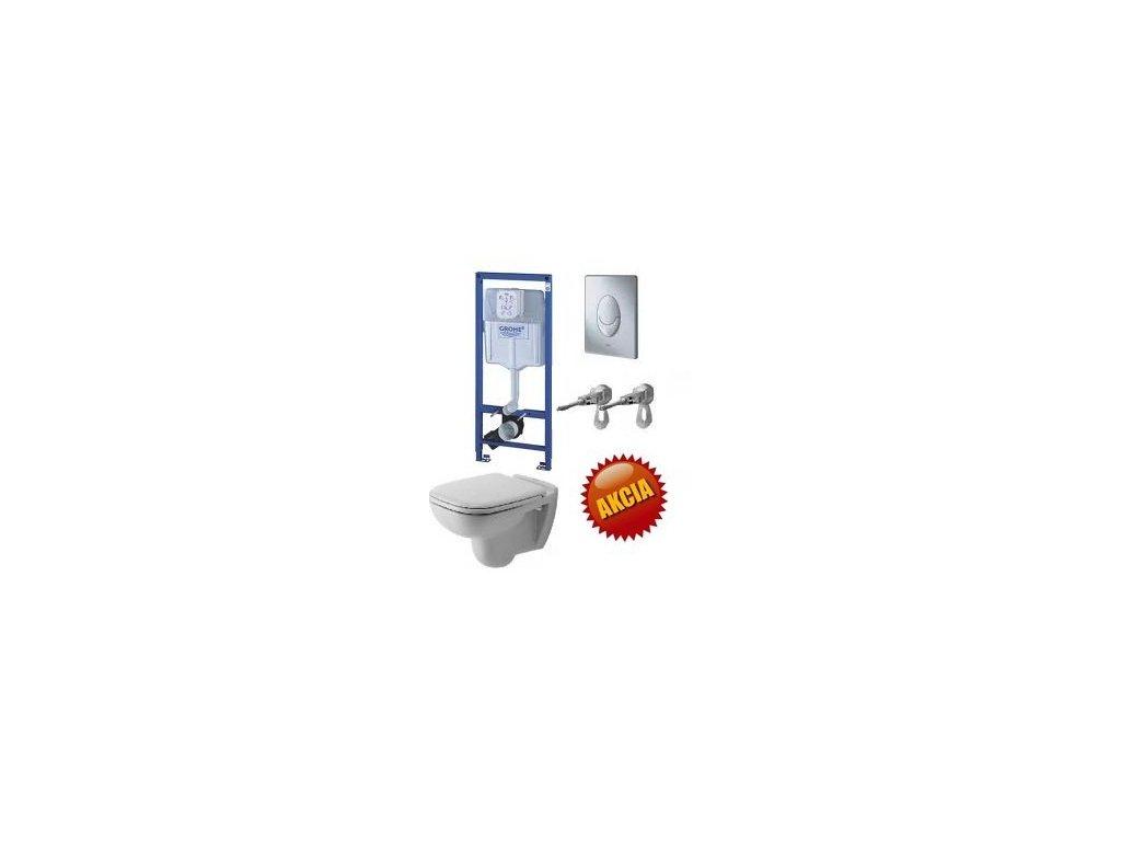 Grohe Rapid SL - set pre WC + tlačidlo Skate Air + úchyty + Duravit D-Code závesné WC + Duravit WC sedadlo, G + D2