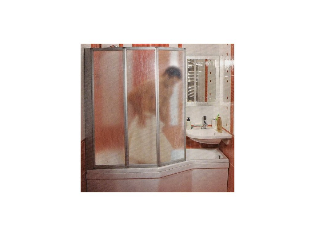 Ravak VS3 - 130 - vaňová zástena profil satin - matný chróm,  číre sklo