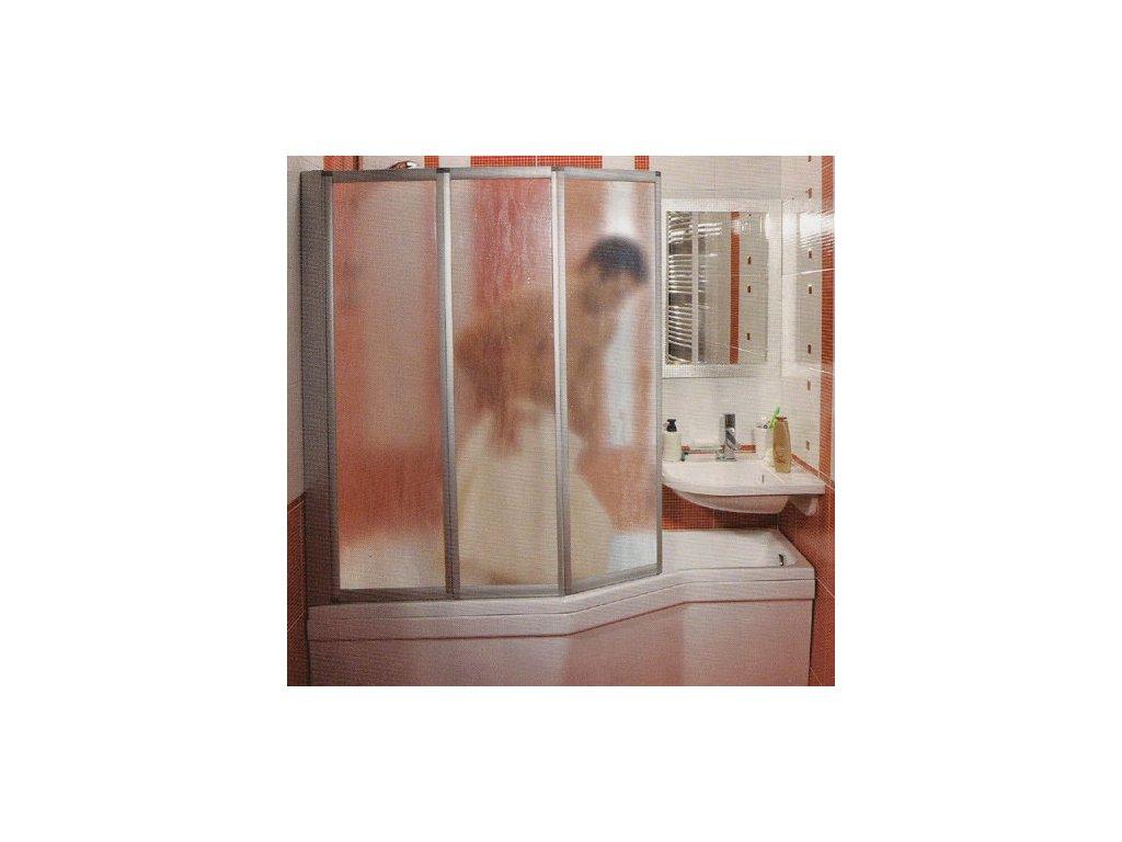 Ravak VS3 - 100 - vaňová zástena profil satin - matný chróm,  číre sklo