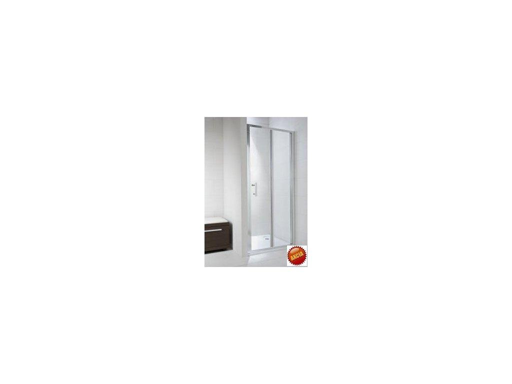 Jika Cubito Pure skladacie sprchové dvere L/P strieborný lesklý profil transparentné sklo kupelnashop.sk