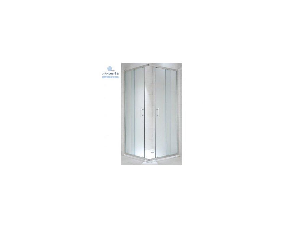 Jika Cubito Pure rohový sprchový kút strieborný lesklý profil sklo s dekorom arctic kupelnashop.sk