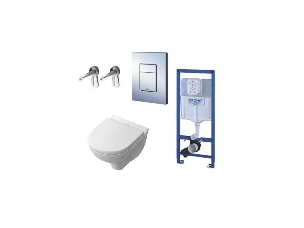 Villeroy & Boch - set - podomietkový systém + tlačidlo + úchyty + závesné WC + spomaľovacie sedadlo