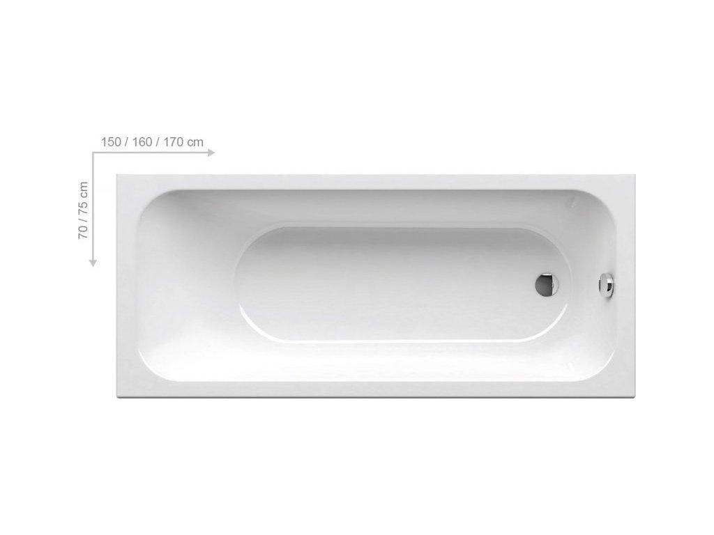 Ravak Chrome - obdĺžníková akrylátová vaňa 160 x 70 cm