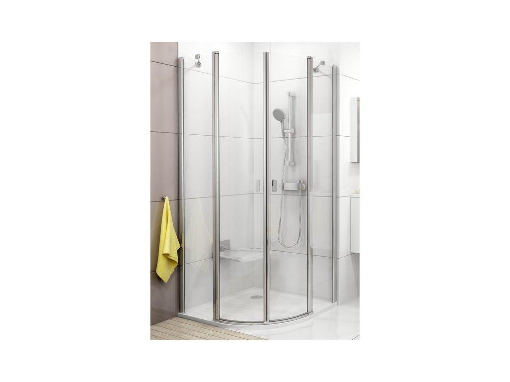 Ravak Chrome - štvrťkruhový oblý sprchový kút Ravak 90