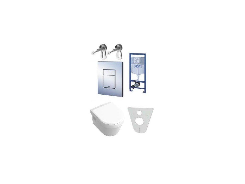 Grohe - set - nádržka 38772 + tlačidlo + Villeroy & Boch Omnia WC a spomaľovacie sedadlo