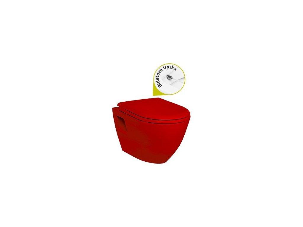Creavit Tekko 325 červené red závesne wc+bidet 2v1