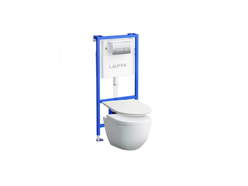 Laufen set CW1 pod omietková nádržka+ocelové tlačítko+Laufen Pro rimless wc+spomalovacie wc sedátko