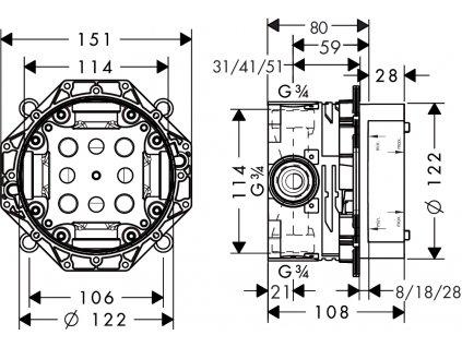Hansgrohe Ibox univerzal podomietkové teleso pre baterié 01800180