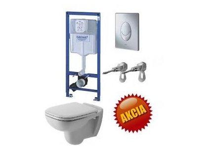 Grohe Rapid SL - set pre WC + tlačidlo Skate Air + úchyty + Duravit D-Code závesné WC + Duravit WC sedadlo