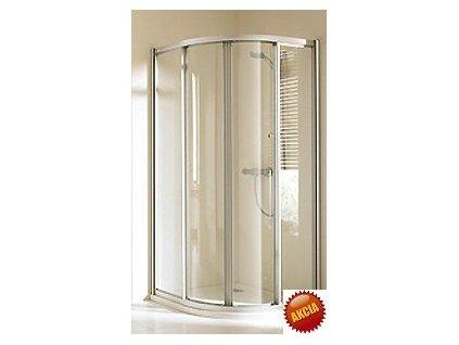 Huppe Alpha - Oblý sprchovací kút 80cm s posuvnými dverami, výplň transparentné sklo, profil strieborný matný.