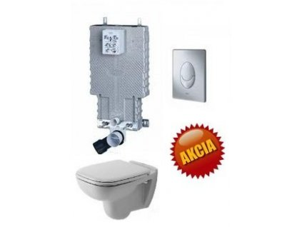 Grohe Uniset - nádržka pre WC + tlačidlo Skate Air + Duravit D-Code závesné WC + Duravit D-Code WC sedadlo