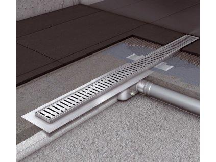 ACO Classic - sprchový podlahový žľab 80 s prírubou a mriežkou wave 406956