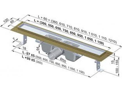 Alcaplast sprchový podlahový žľab 90 cm s prírubou bez mriežky APZ1-850