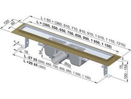 Alcaplast sprchový podlahový žľab 100 cm s prírubou bez mriežky APZ1-950