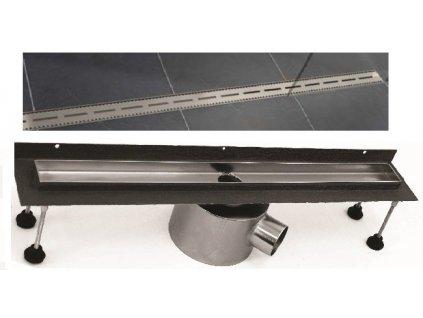 Viva Slot - L 100 - sprchový žľab s horizontálnou a vertikálnou prírubou + nerezová sprchová mriežka