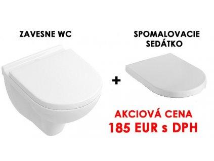 Villeroy Boch O.Novo závesne wc + Villeroyy&Boch spomalovacie softclose wc sedátko