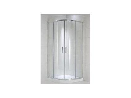 Jika Cubito Pure oblý -dielny sprchový kút strieborný lesklý profil transparentné sklo kupelnashop.sk