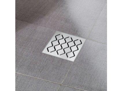 Ravak sprchová podlahová vpúsť s nerezovou mriežkou 105x105mm SN501