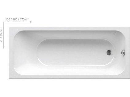 Ravak Chrome - obdĺžníková akrylátová vaňa 170 x 75 cm