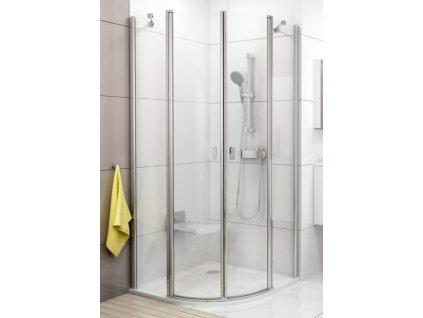 CHROME Štvrťkruhový oblý sprchový kút Ravak 90  s transparentným sklom s povrchovou úpravou