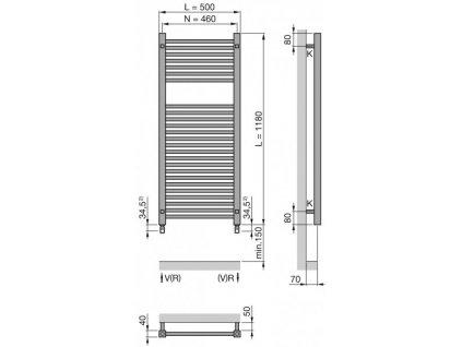 Zehnder Impa - biely hranatý radiátor 1180 x 500 mm IMP-120-050
