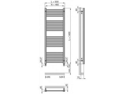 Zehnder Impa radiátor, biele prevedenie,rozmer 1400x500mm,kod: IMP-140-050