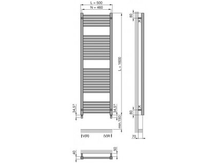 Zehnder radíator Impa v bielom prevedení 1600x500m, kod: IMP-160-050