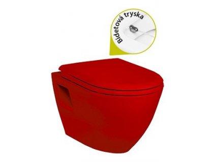 Creavit Tekko - červené závesné WC + bidet 2v1 TP325