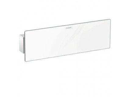 Novika Hansgrohe Fixfit - rohový prípoj s poličkou - biele sklo 26456400 kupelnashop.sk