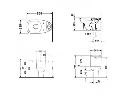 Duravit set D-Code stojaté wc spodný odpad+nádržka+spomalovacie wc sedátko