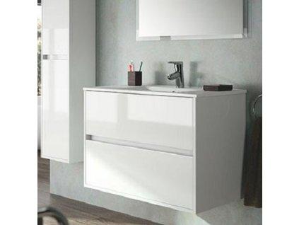 Salgar Noja závesná skrinka s umývadlom a 2 zásuvkami,biela lesklá,šírka 91cm ,kód:17286