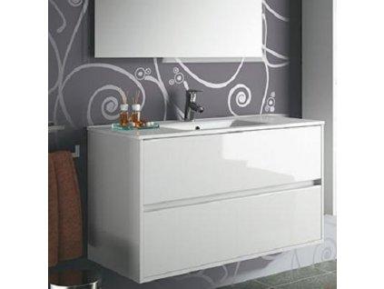 Salgar Noja závesná skrinka s umývadlom a 2 zásuvkami,biela lesklá,šírka 101cm ,kód:17033