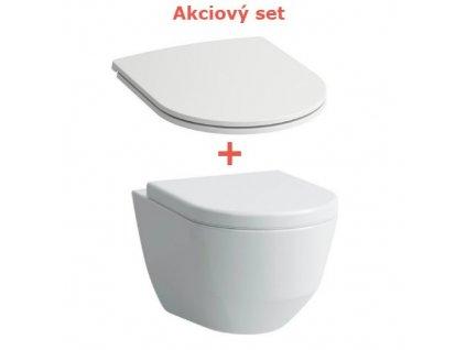 Akciový set Laufen Pro skrátená závesná wc misa compact 36x49 cm s Rimless + spomaľovacie sedátko s poklopom