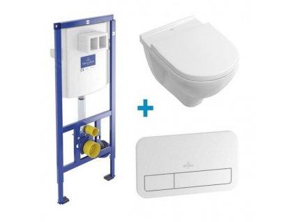 Akciový set 4v1 Villeroy&Boch O.Novo závesná wc misa DirectFlush + spomaľovacie sedátko + nádržka + tlačitko lesklé biele