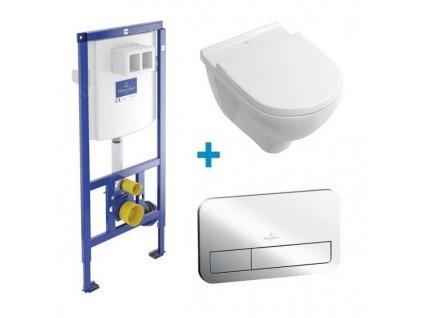 Akciový set 4v1 Villeroy&Boch O.Novo závesná wc misa DirectFlush + spomaľovacie sedátko + nádržka + tlačitko lesklý chróm