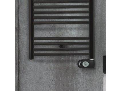 Zehnder Aura - čierny elektrický radiátor 906x500 mm s vykurovacou tyčou