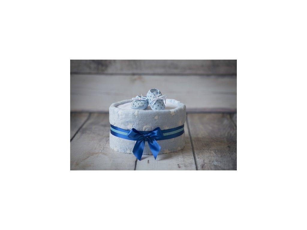 Plenkový dort s dekou modrý