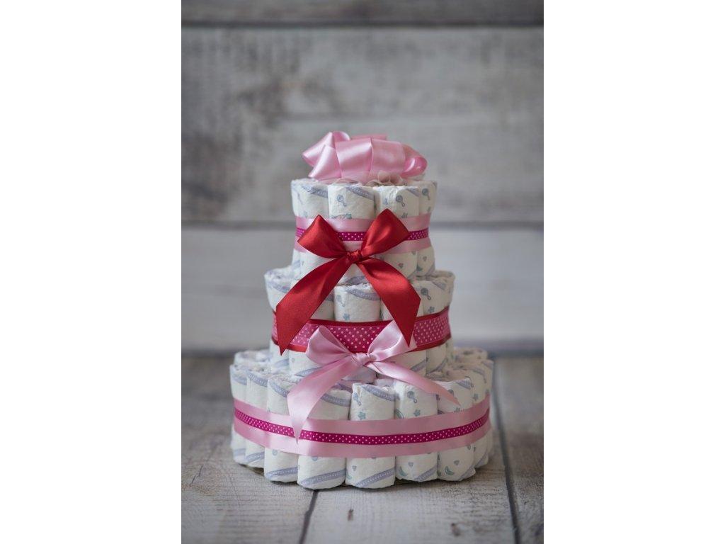 Plenkový dort třípatrový červený